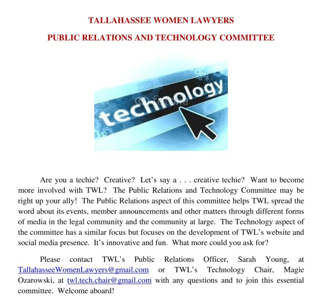 Public Relations and Technology Committee Announcement